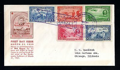 14601-NICARAGUA-AIRMAIL FDC.COVER MANAGUA to CHICAGO (usa)1939.WWII.Aereo.