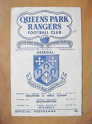 QUEENS PARK RANGERS QPR v ARSENAL Reserves 1955/1956 *Good Condition Programme*