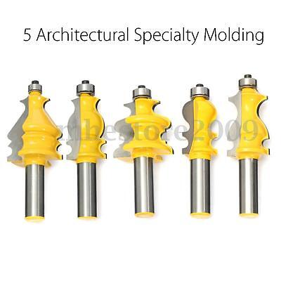 """5pcs 1/2"""" Shank Architectural Specialty Molding Router Bit Set Woodworking Kit"""