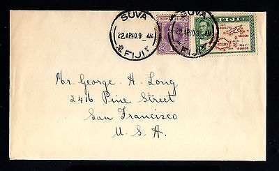 14613-FIJI ISLANDS -OLD COVER SUVA to SAN FRANCISCO (usa)1940.WWII.BRITISH colo