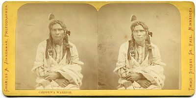 Chippewa Indian Warrior 1870s Stereoview Photo by Charles A. Zimmerman Minnesota