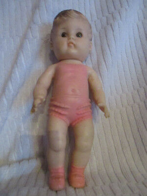 1956 Sun Rubber vintage baby doll toy pink ruffle butt poor condition