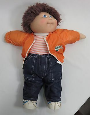 """Cabbage Patch Doll 16"""" Male Brown Hair Blue Eyes Dimple Original Outfit 1982"""