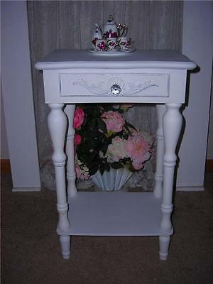 Shabby French furniture carved white end table simply chic