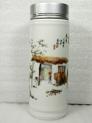Double Walled Porcelain Thermal Travel Mug Cup,Ancient Dwelling Pattern,320 cc