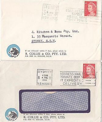 Stamps Australia 4c red QE2 1966 pair Collie & Co Botany NSW advertising covers