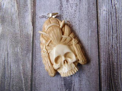 Pendant Necklace Indian Skull From Buffalo Bone Carved w/ Silver 925_w336