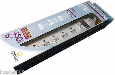 Globe 6 Outlets 450 Joules 3 Star Home Appliance Surge Protector, Power Bar, NEW
