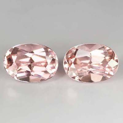 "1.85Cts""Madagascar ""Soft Baby Pink"" Natural Tourmaline PAIR ""Oval Cut""2p2576"