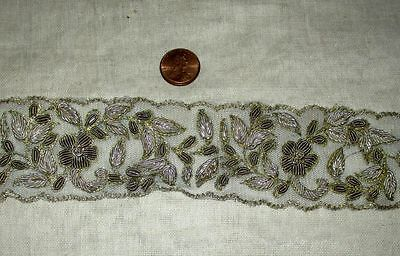* Vintage Antique Border Sari Trim Lace  1.5 ft Zardosi Grey #ABXXX