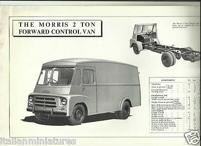 Morris 2 Ton Forward Control Van Chassis Cab UK Brochure Double Sided Sheet