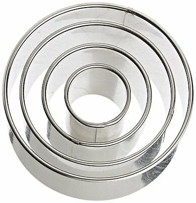 Harold Ateco Stainless Steel Round Cookie Biscuit Pastry Kitchen Cutter Set Of 4