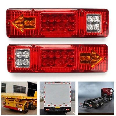 Pair 19 LED Turn Signal Running Brake Tail Light for Trailer Truck RV ATV SWTG