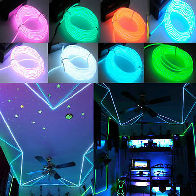 1-5M Flash Flexible Neon LED  Glow EL Strip Tube Wire Rope Car Party Light FYO