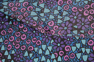 Vintage 1960s 70s Fabric psychedelic magic mushrooms purple floral dress making