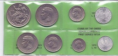 GREECE SET OF USED GREEK COINS 1973 a