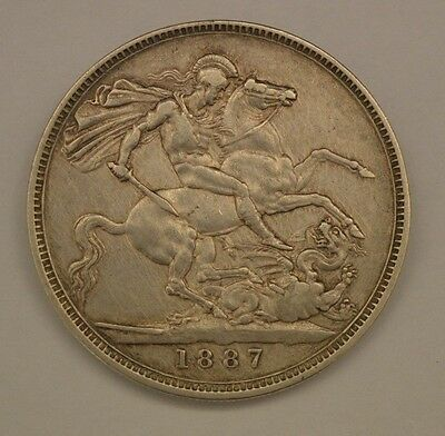 Lovely Queen Victoria 1887 Large Crown Silver Five Shilling Coin RDL1