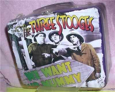The Three Stooges Moe Larry Curly metal Lunch box 2001 sealed Lunch box