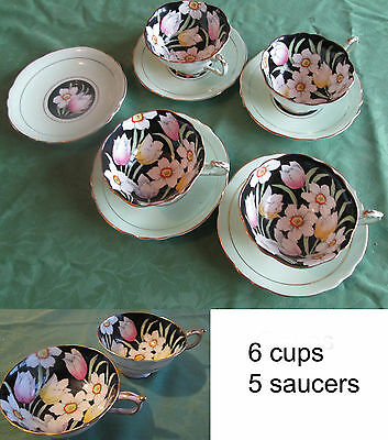 Vintage Paragon Cup and Saucer Sets Black Green Gold Floral Tulips