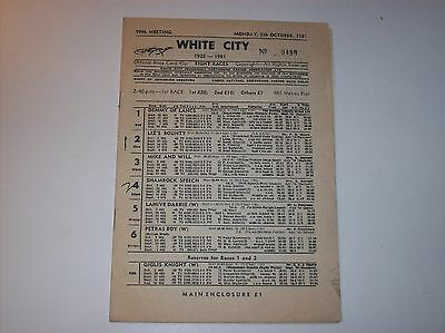 1981 Manchester White City greyhound race card BAGS meeting racing programme
