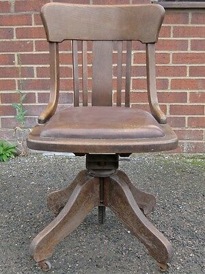 Edwardian antique Angus solid oak brown leather adjustable office desk chair