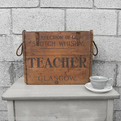 Teacher Whisky Bottle Crate Box Rustic Waxed Pine Storage Chest Rope Old Antique