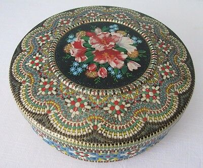 """Vintage Tin Container~Textured~Bright Colors~Flowers~8 1/2""""~Made In Holland"""