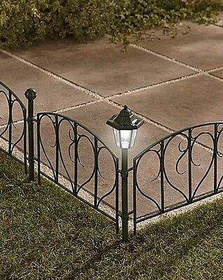 Mountrose 4 Resin Fence Panels with 2 Solar Post Lights