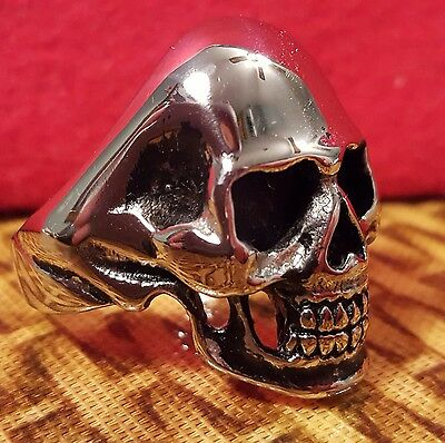 FASHION JEWELRY-RING-STAINLESS STEEL WICCAN/GOTH/BIKER SKULL sz15.25