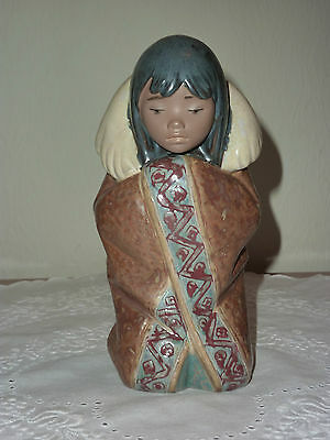 "Lladro - RETIRED Gres Figurine of Eskimo Girl Called ""Arctic Winter #2156"