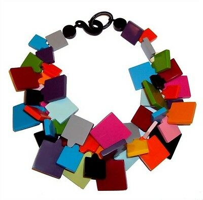 Fab Multicolor Resin Bib Necklace With Square Elements