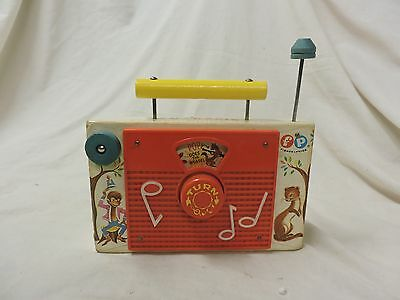 1964 Vintage Wooden Fisher Price TV-Radio Music Box POP GOES THE WEASEL