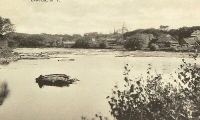 Canton NY Grasse River Town in Distance Crary Mills NY Cancel RE Dezeil Postcard