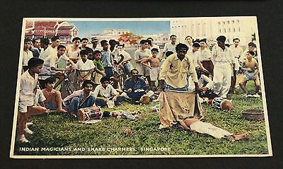 Singapore Asia Native Magician Snake Charmer Magic Stamps to US 1954 Postcard