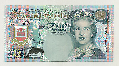 Gibraltar 5 Pounds 2000 Pick 29 UNC Uncirculated Banknote