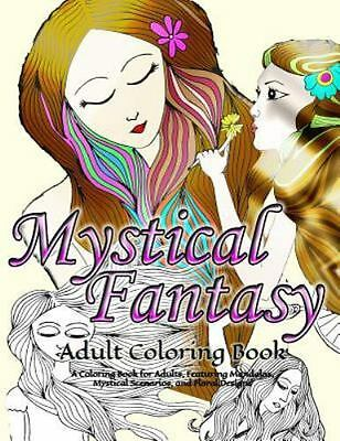 Mystical / Fantasy Adult Coloring Book by Puzzle Book (2015, Paperback)