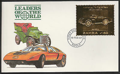 Zambia (396) 1987 Classic Cars - ASTON MARTIN in 22k gold foil First day Cover