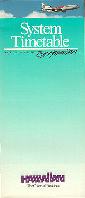 Hawaiian Air system timetable 4/2/89 [5023]