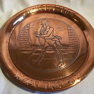 Early 20th C Heavy Quality Copper Drinks Tray Johnnie Walker Whisky Scotland