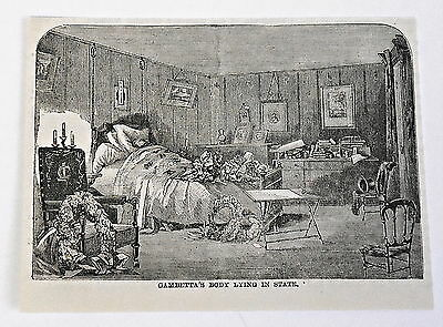 small 1883 magazine engraving ~ LEON GAMBETTA'S BODY LYING IN STATE