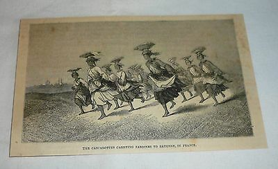 1877 magazine engraving ~ CASCAROTTES CARRYING SARDINES, France