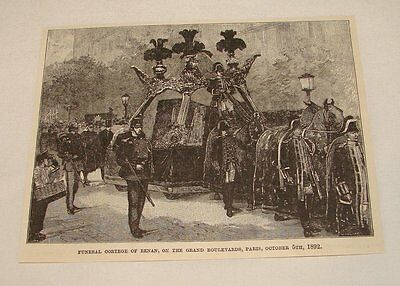 1893 magazine engraving ~ FUNERAL CORTEGE OF ERNEST RENAN, Paris