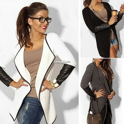 2017 Women Jacket Blazer Long Sleeve Knitwear Leather Cardigan Coat Outwear ES9P