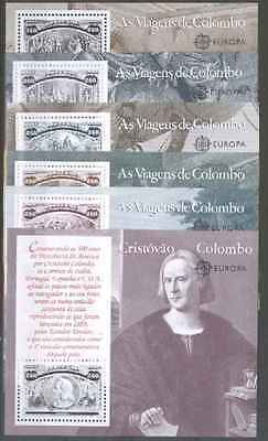 Cept Europa 1992 ** The Voyages of Columbus Portugal 6 block s/s MNH joint USA E