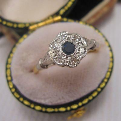 VINTAGE 1960'S SAPPHIRE and DIAMOND CLUSTER RING in 18ct GOLD size L 1/2