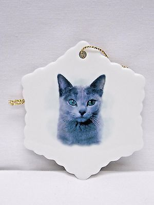 Grey Russian Blue Cat Porcelain Snowflake Christmas Tree Ornament Fired Decal