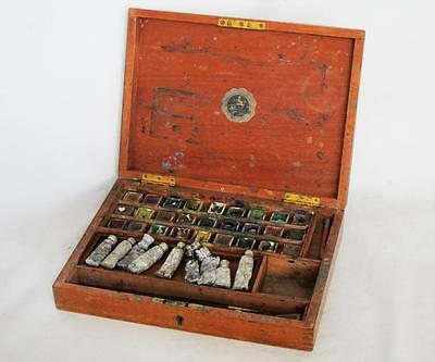 SUPERB VINTAGE MAHOGANY ARTIST PAINT BOX by REEVES watercolour oil painting k