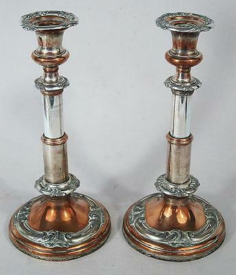 Beautiful Pair Of Antique Telescopic Silver Plated Candlesticks 1860