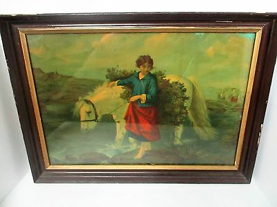 Antique Lady & Horse Barefoot Girl & Pony Lithograph Print Christmas Tree Water