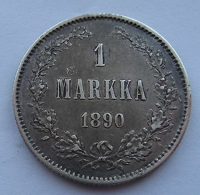 Finland Russia - 1 Markka 1890 VF+ Condition